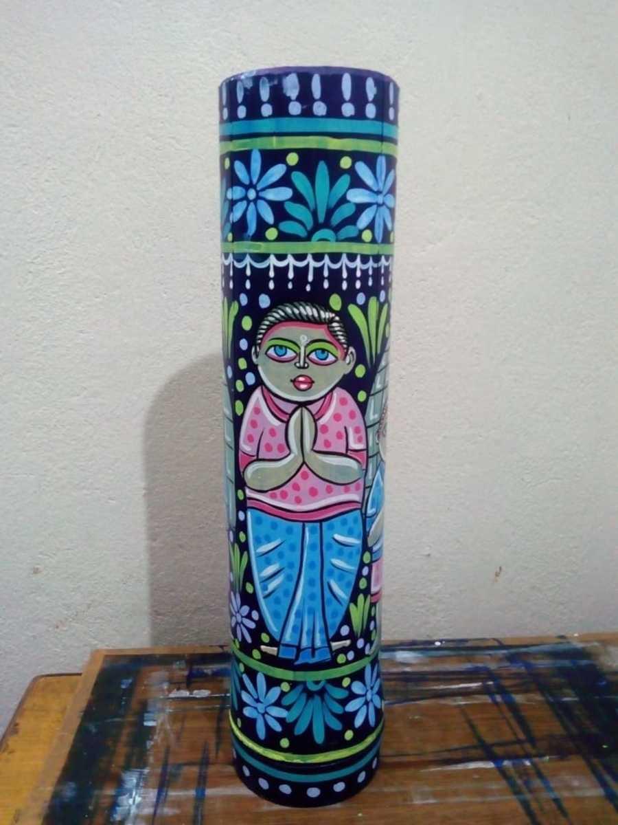 Baidyanath painting on bamboo vessel