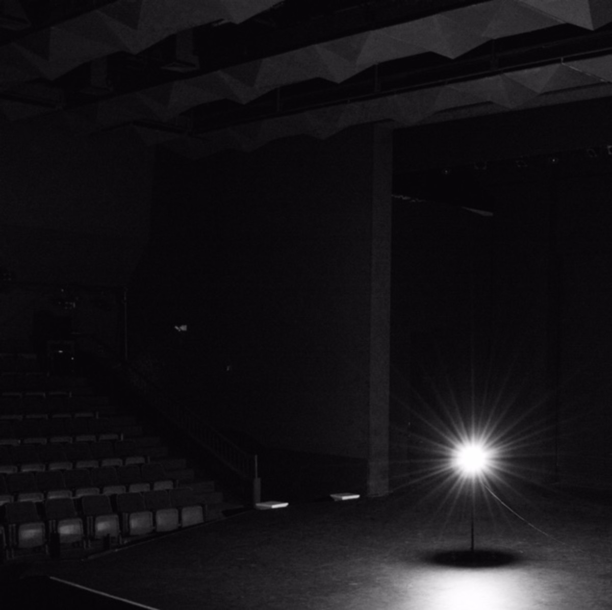 Stage illuminated by a ghost light.