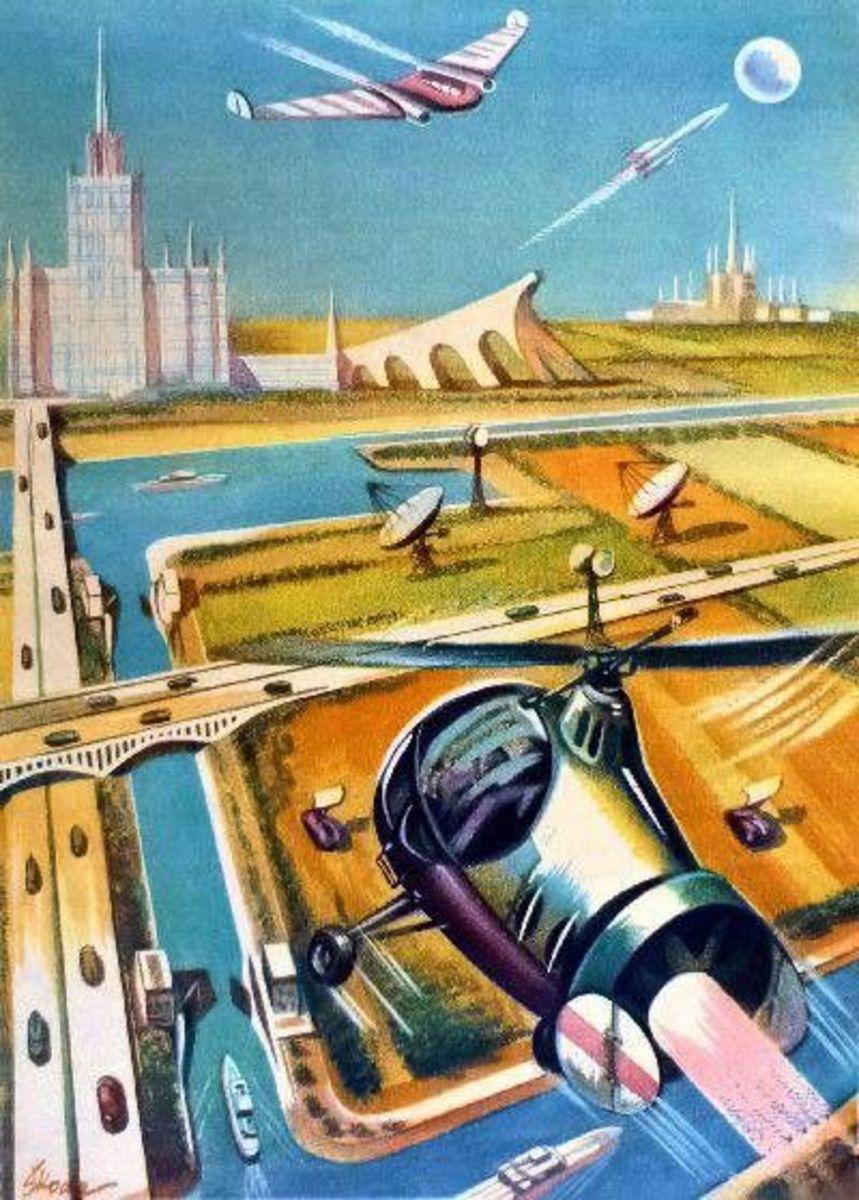 Fantasies of an atomic utopia balanced ou the dark side of the bomb.