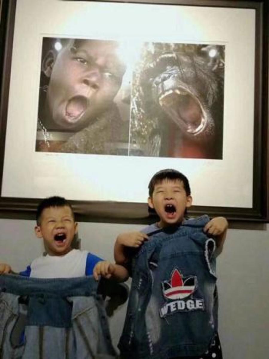 Children emulating the photos.