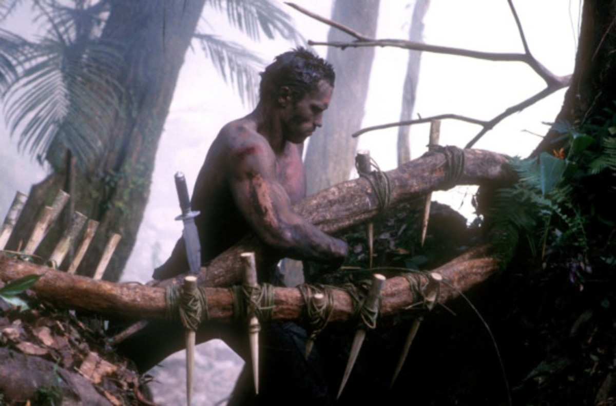 Courtesy of 20th Century Fox.  One of the reasons that 1987's Predator is considered the ultimate masculine fantasy is its deception of not only strong men, but strong men working hard and dying to defeat a stronger foe.