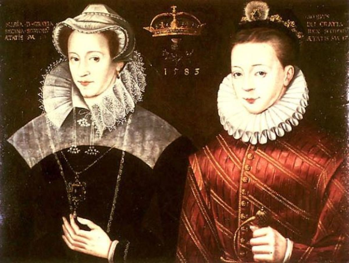 Mary with her son James VI. It's a work of fiction because she last saw her son when he was a baby.