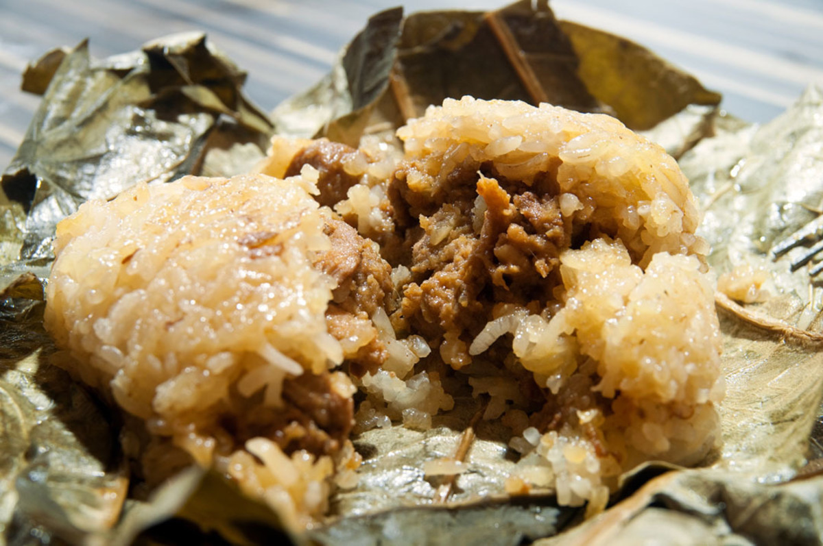Meaty filling within a zongzi.