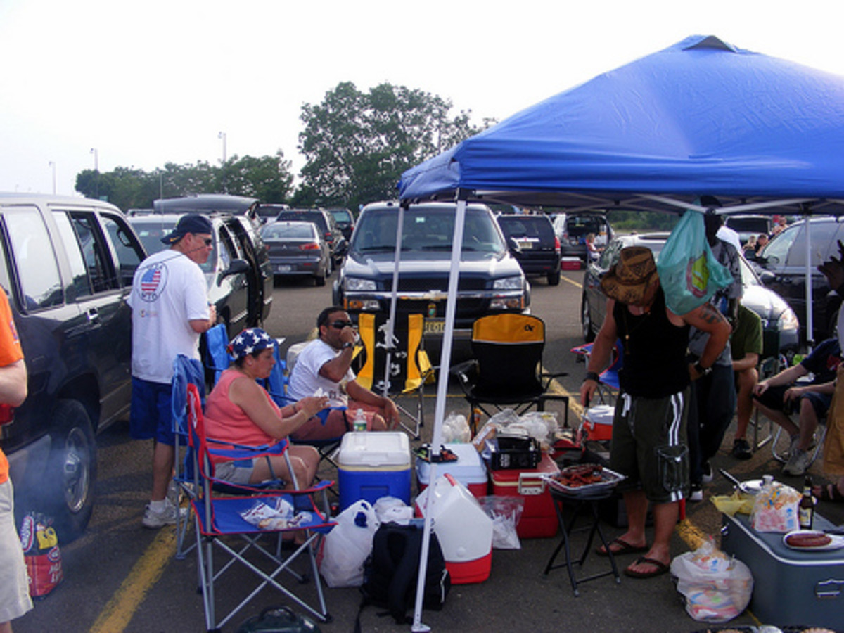 An E-Z UP canopy or pop up tent is perfect for tailgating.