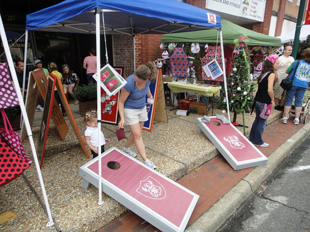Cornhole or bean bags are a popular tailgating game.