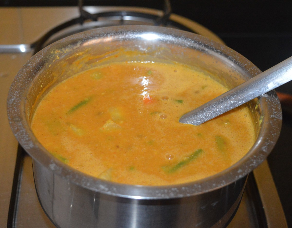 This sambar should have a thick consistency. If needed, add water and mix well to get the right consistency. Turn off the heat.