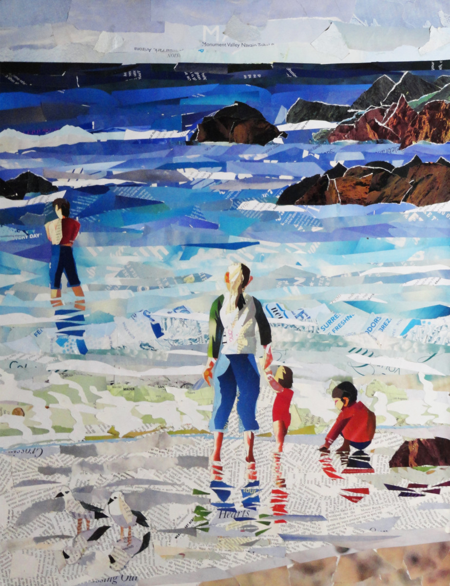 """My collage """"Beach People"""" sold on Etsy"""
