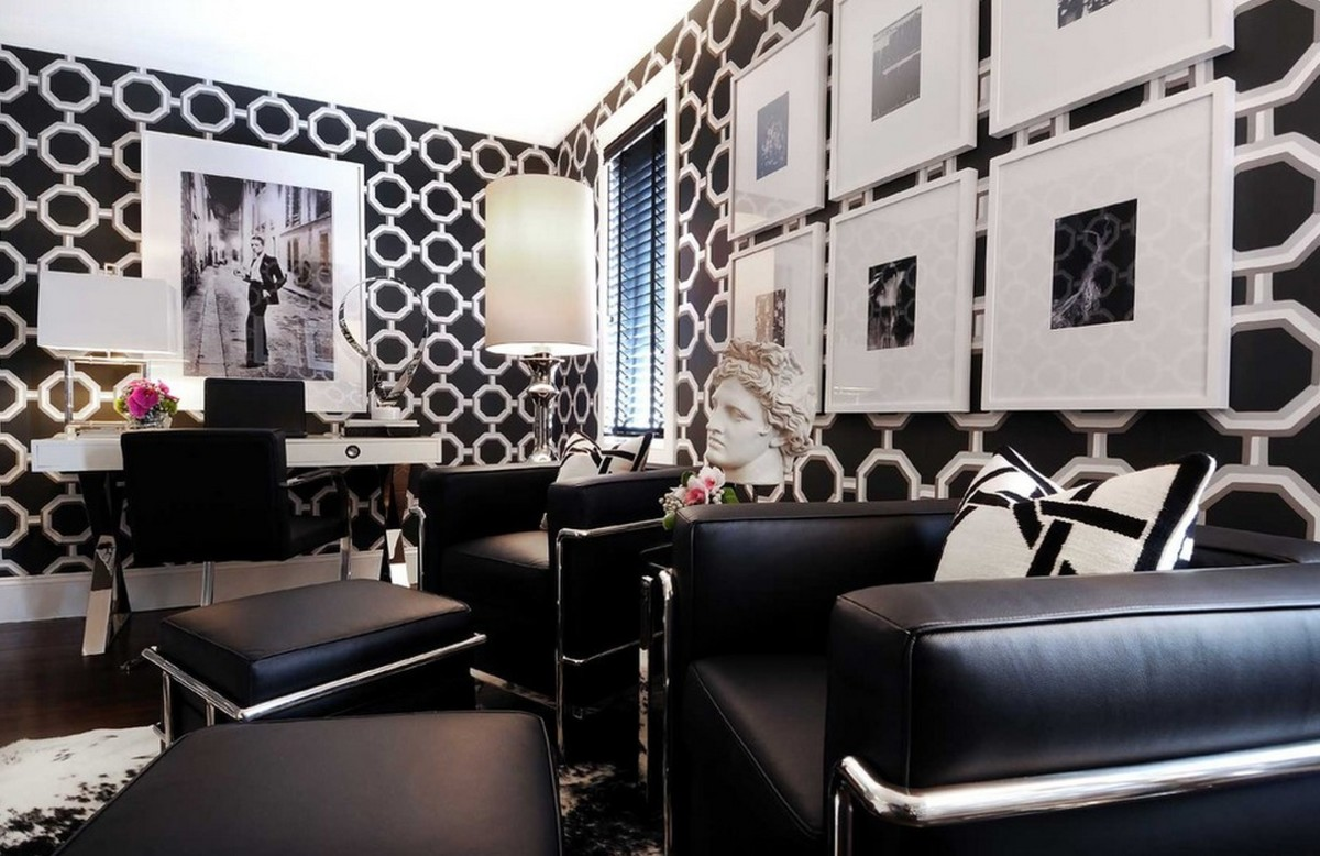 Black and white creates a big contrast on the walls.