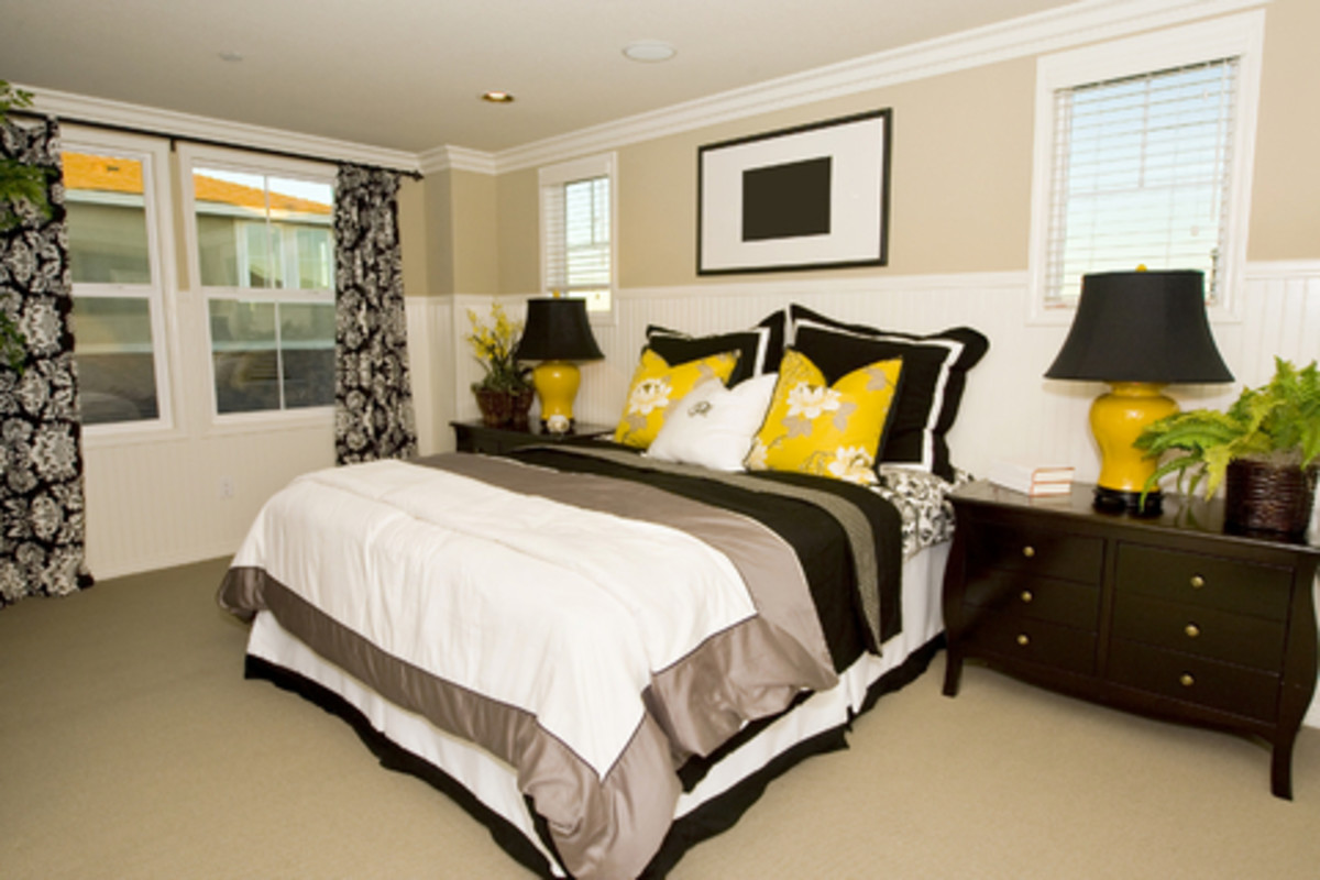 Add a bright pop of color to add visual interest in a black-and-white room.