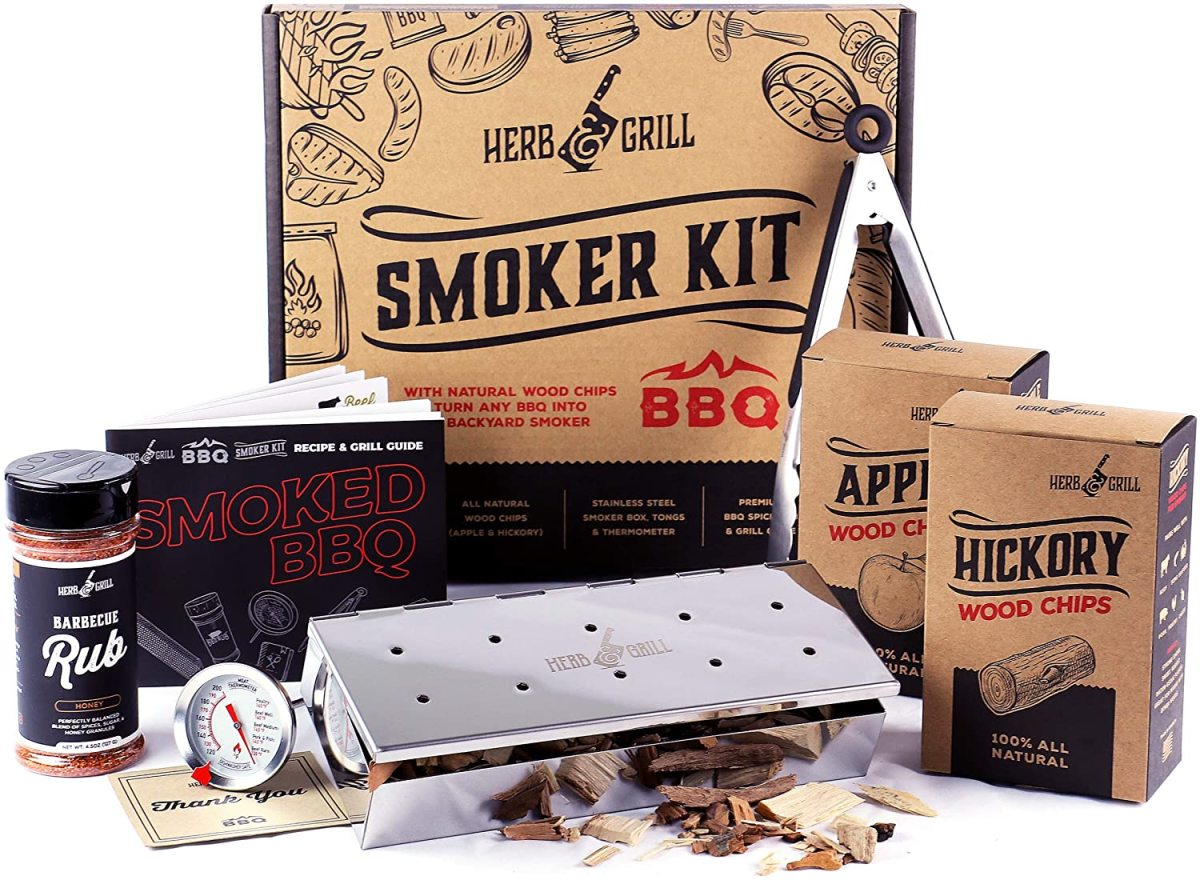 This 7 piece BBQ grill set is a perfect gift for dad who loves smoked meat