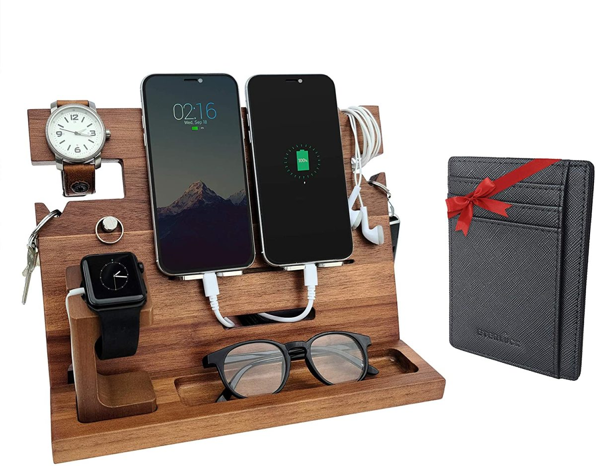 This wooden docking station is a perfect gift for dad to charge his cellphones and smartwatches.