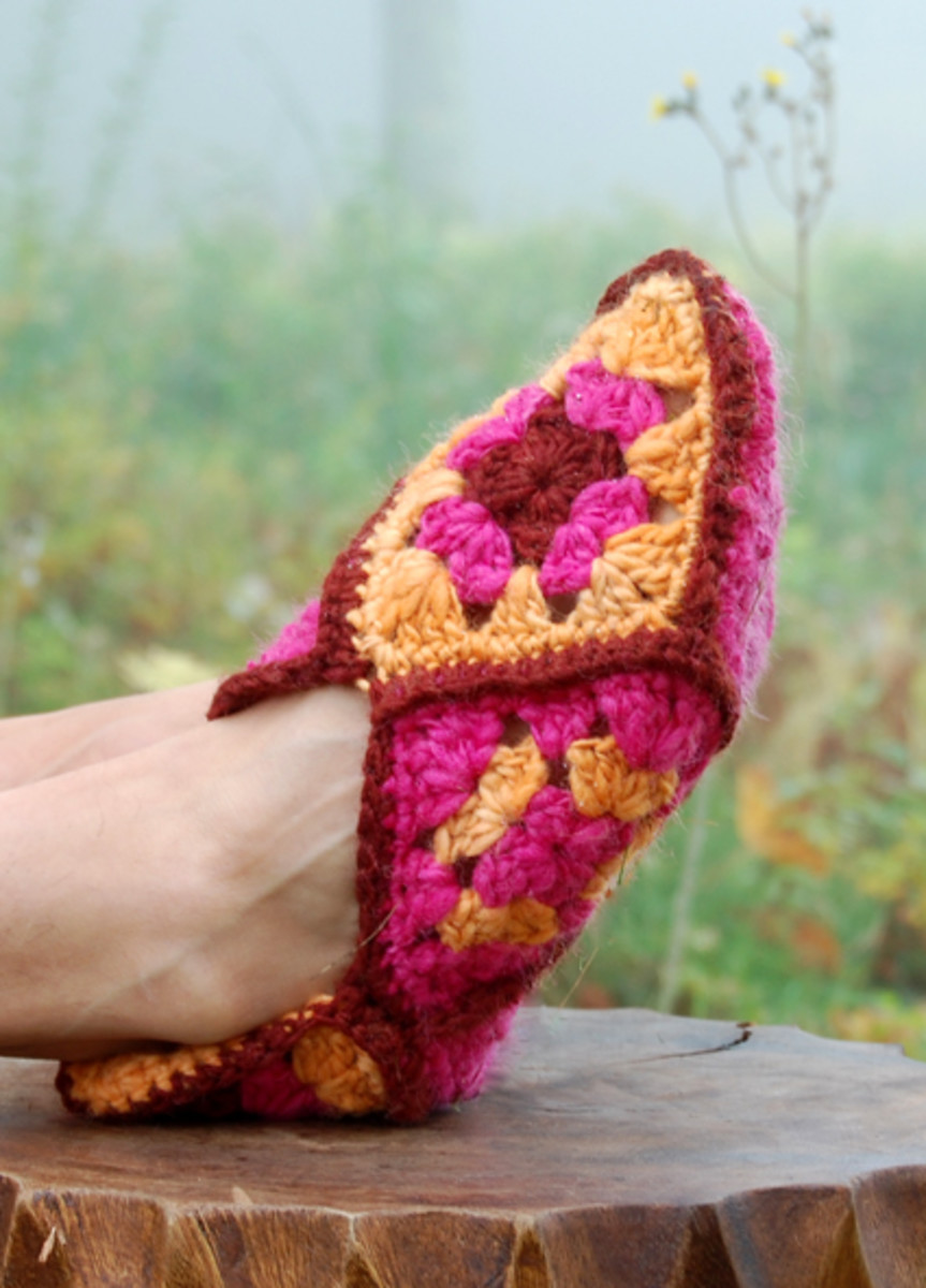 How to make you own granny squares slippers