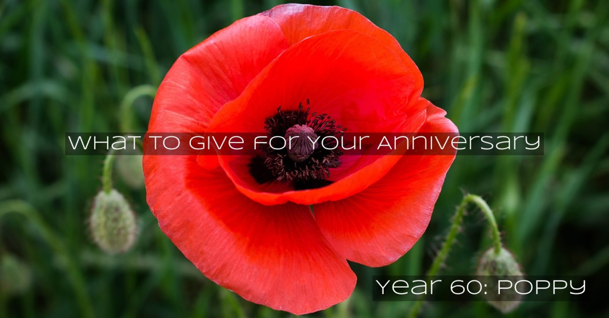 A poppy flower marks 60 years of marriage. The poppy is known for its power to make people sleep.