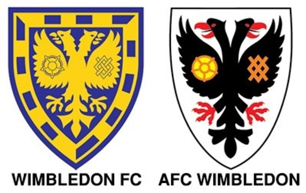 Left: Wimbledon FC's original logo. Right: AFC Wimbledon's current logo.