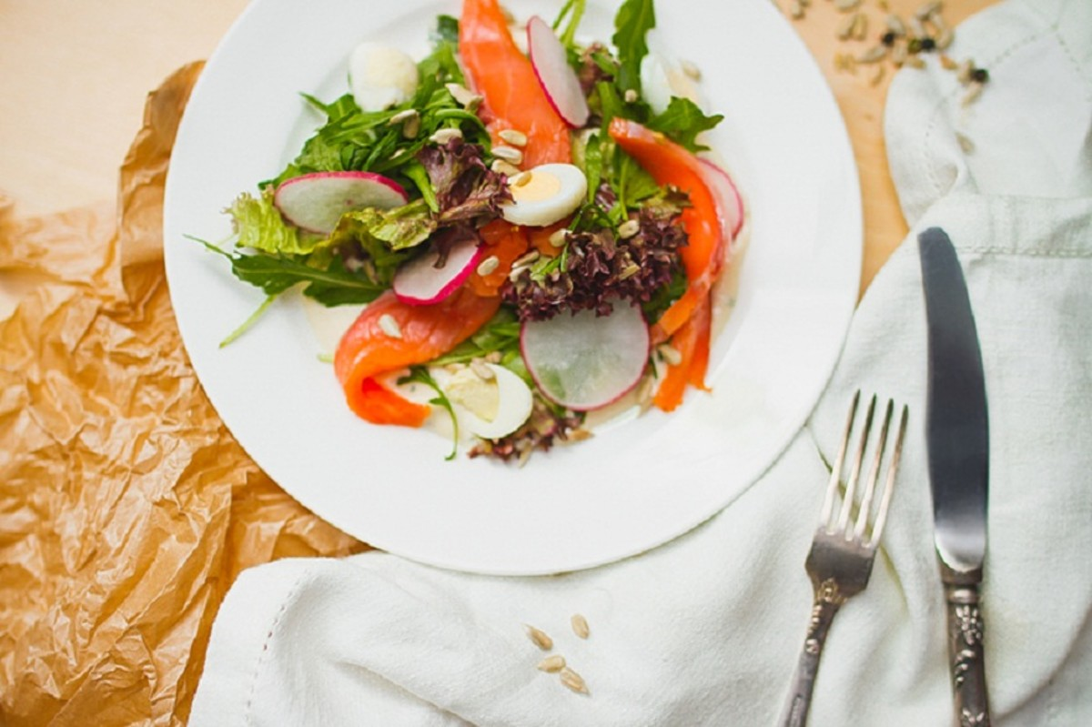 Salad With Smoked Salted Salmon (Red Fish) Recipe With Photos