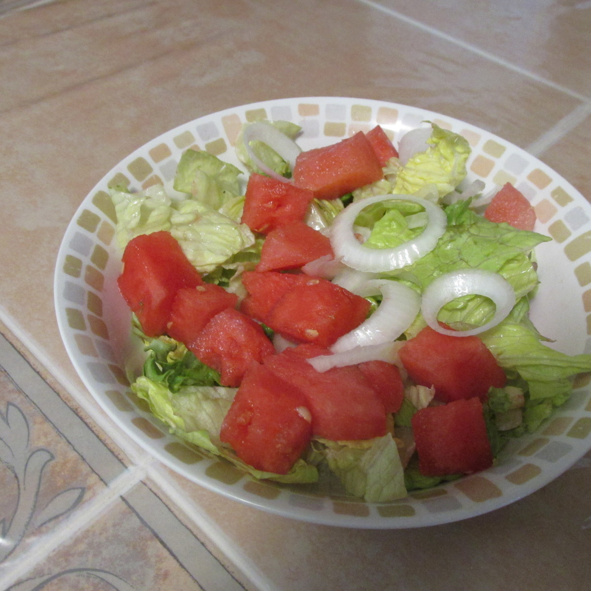 Salad with cubed watermelon