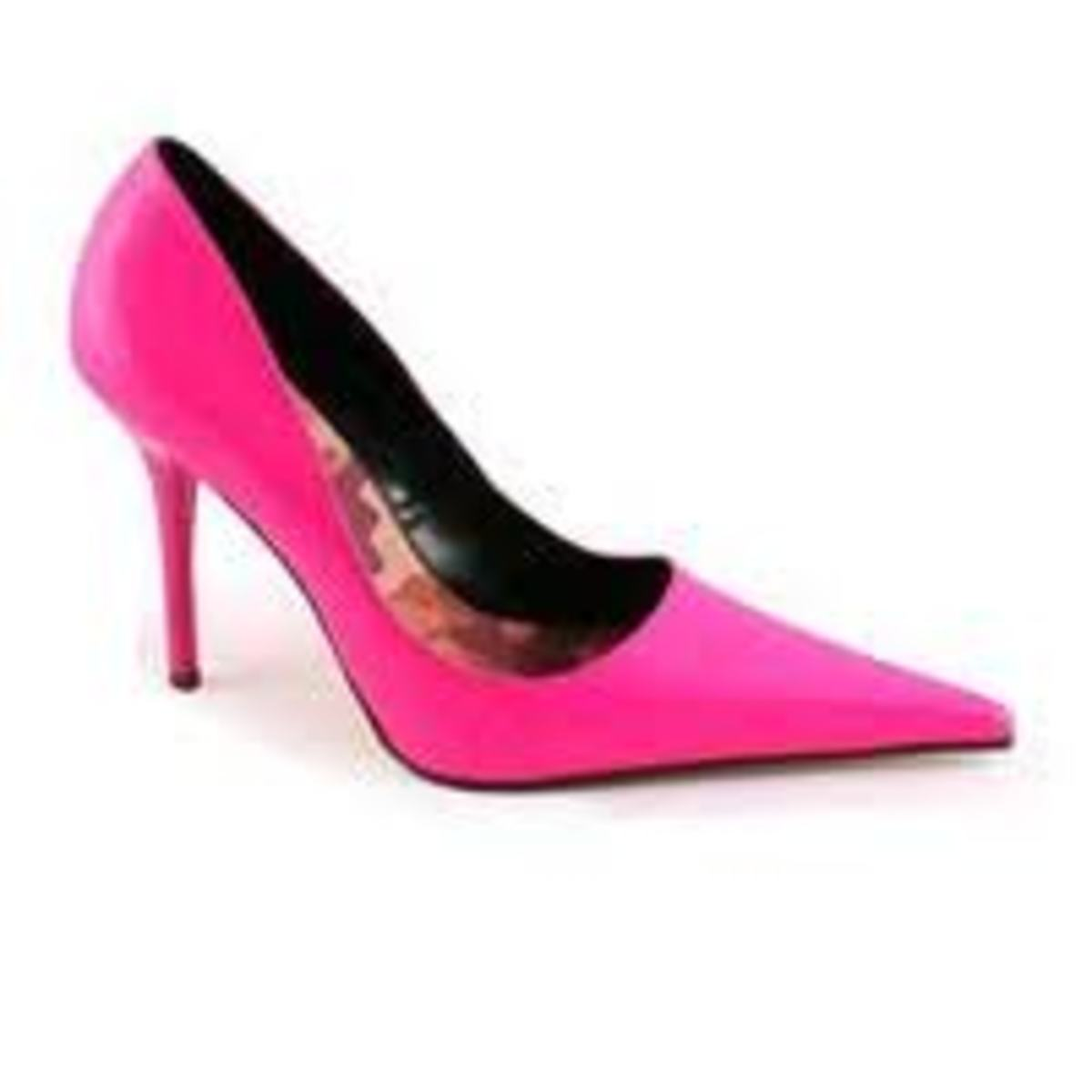 Hot pink high heels come in a variety of styles and colors.