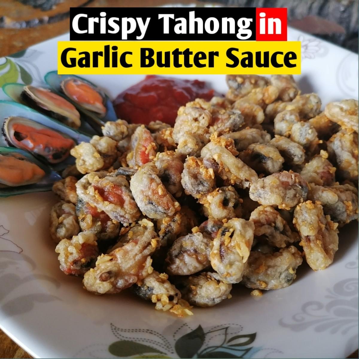 Crispy tahong (mussels) in garlic butter sauce