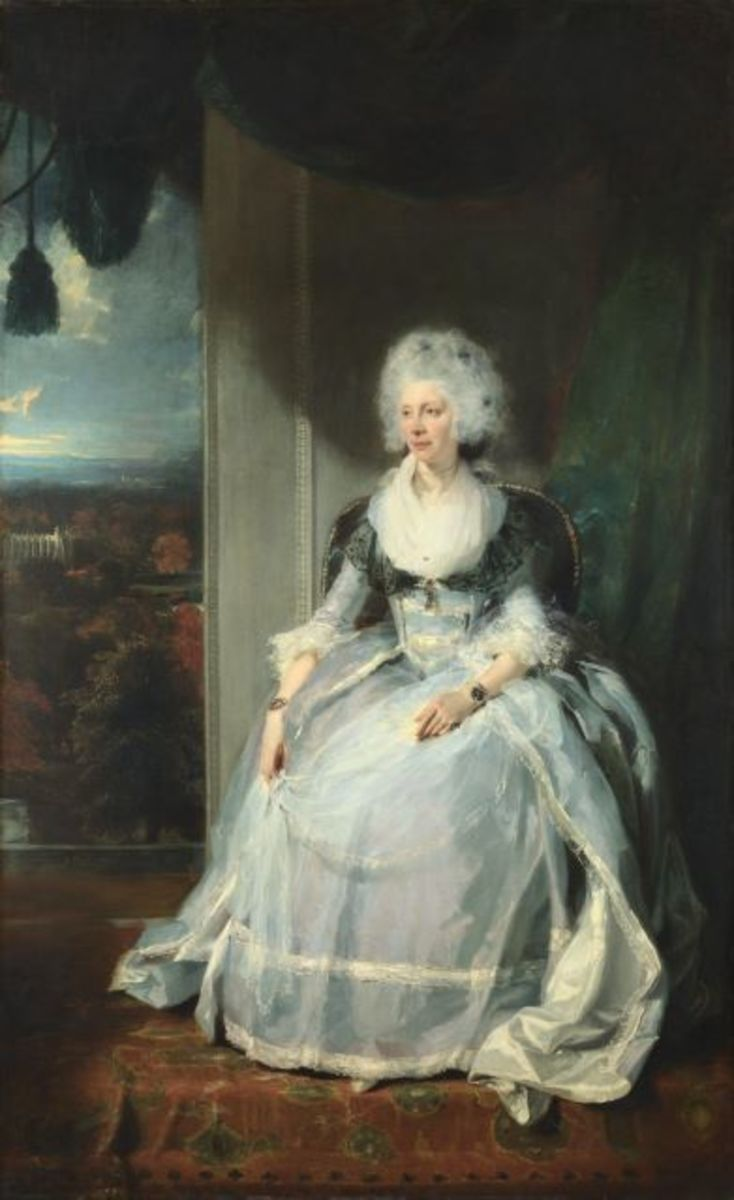 Sir Thomas Lawrence's (1769-1830) 1789 portrait of Queen Charlotte.