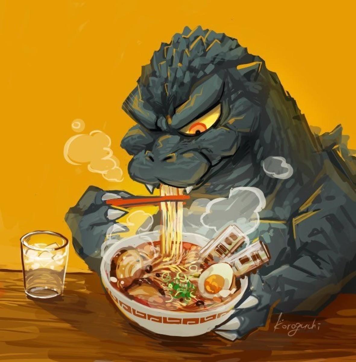 Godzilla likes ramen?