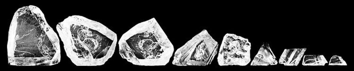 The nine rough cut pieces of the Cullinan Diamond.