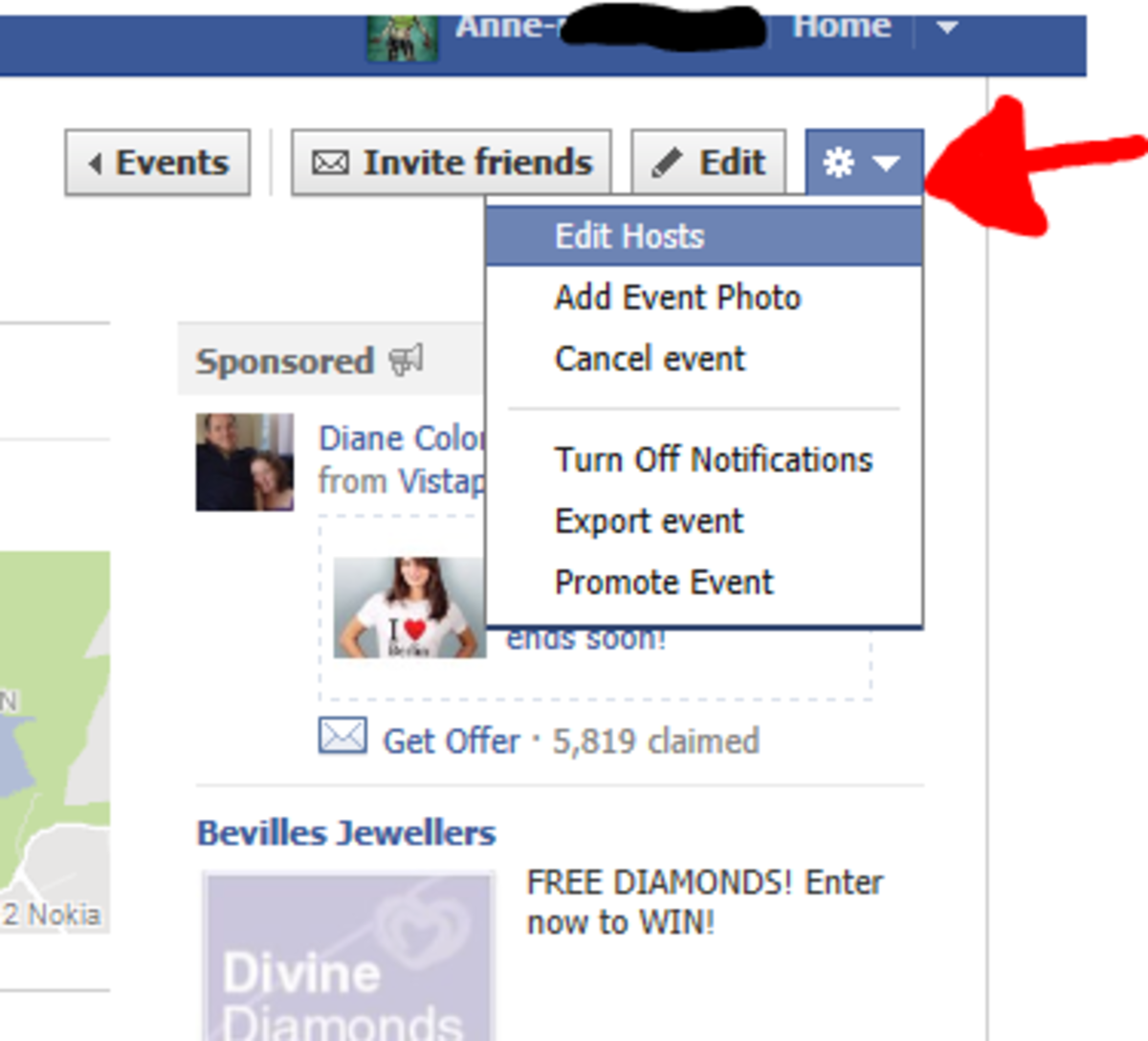 how to add another host to youer event on facebook