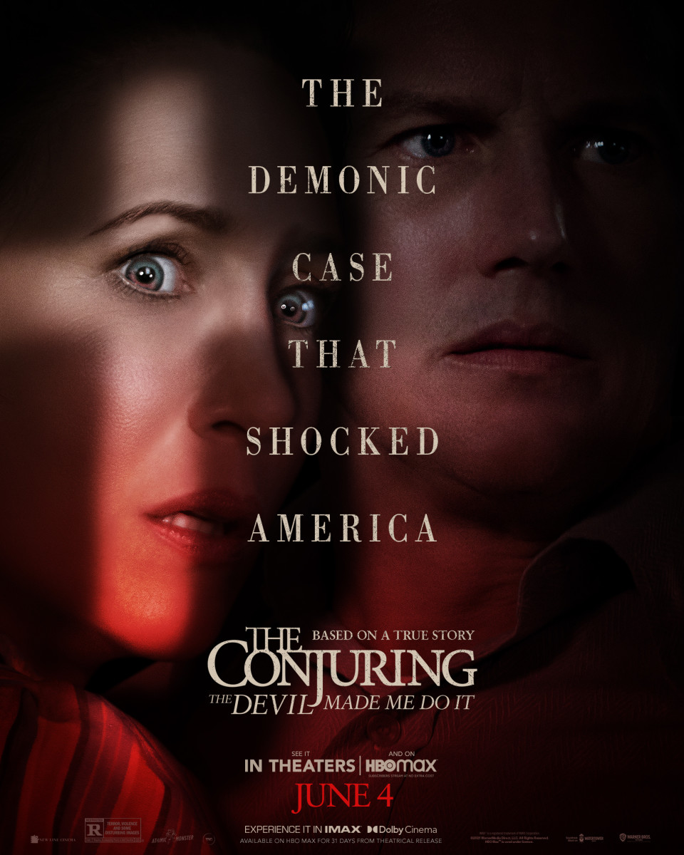 The promotional and theatrical release poster for the Conjuring 3: The Devil Made Me Do It.