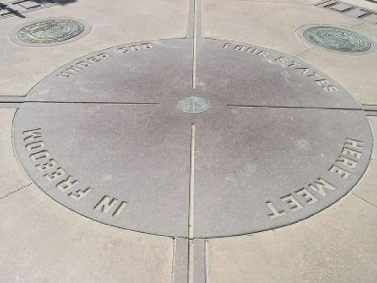 The Four Corners Monument, where Colorado, New Mexico, Utah, and Arizona converge.
