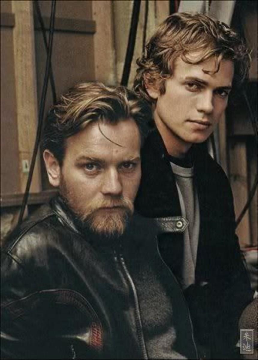 Ewan McGregor as Obi-Wan Kenobi and Hayden Christensen as Anakin Skywalker.