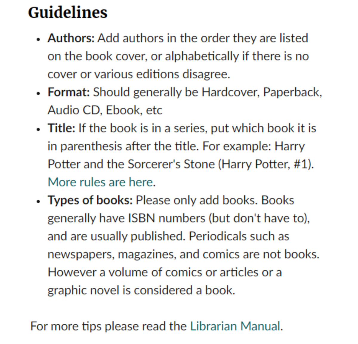 Guidelines for adding a new book manually on Goodreads