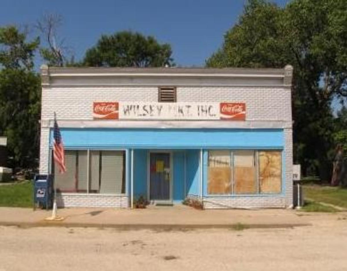 This is the old grocery store in Wilsey, KS. It sold mostly canned foods, dairy, eggs, some produce and a few other basics. Most people bought meat at the meat locker accross the street, so this store had a limited supply.