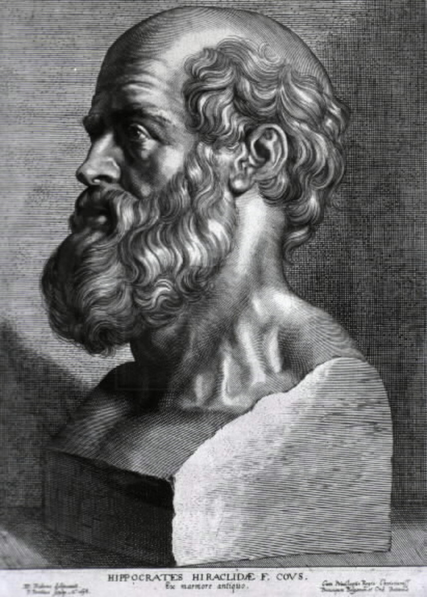 Engraving of Hippocrates by Peter Paul Rubens, 1638