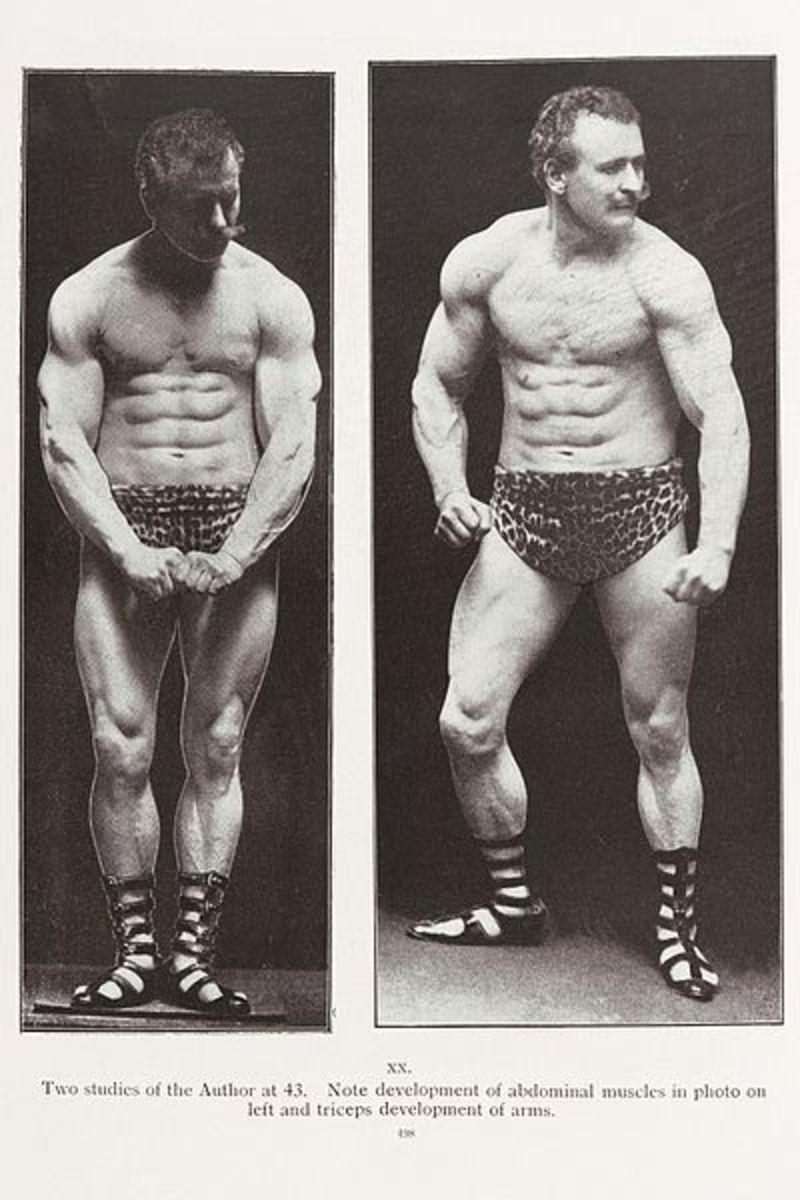 Eugen Sandow rippling his abs.
