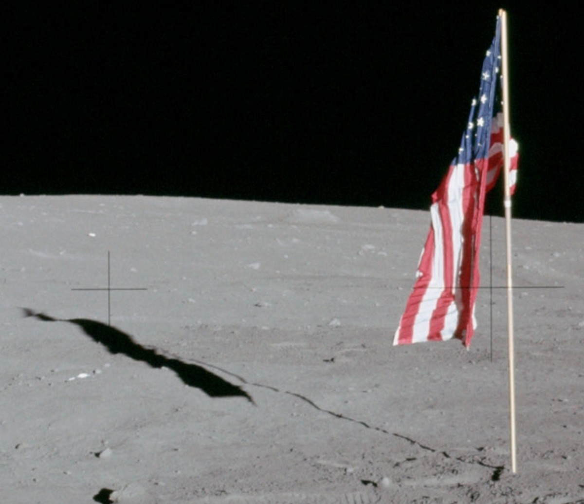 Flag as it was left on the moon.