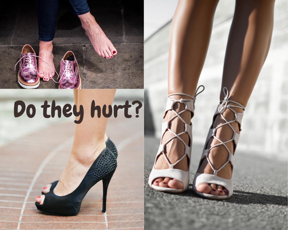 Shoes that pushes weight to the toes and straps that pinch, hurt your feet
