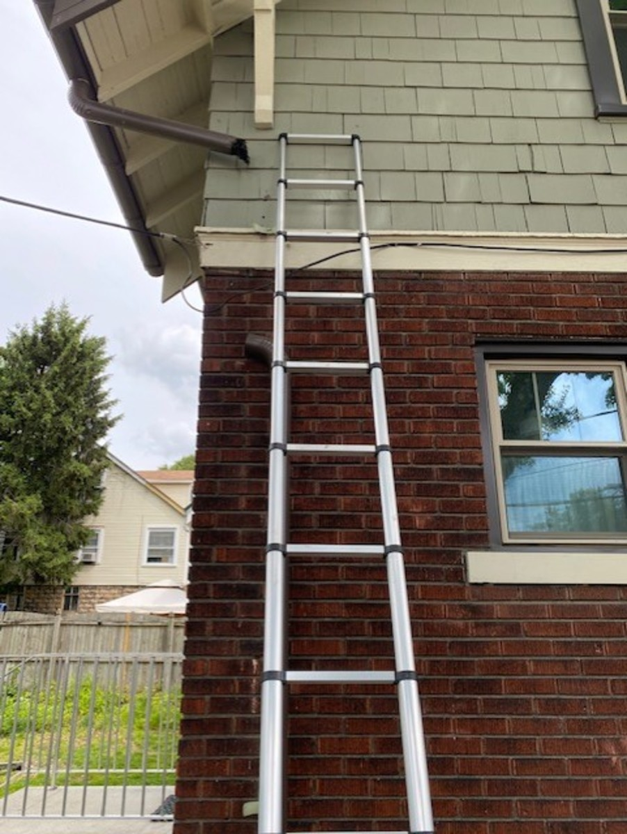 A properly placed ladder