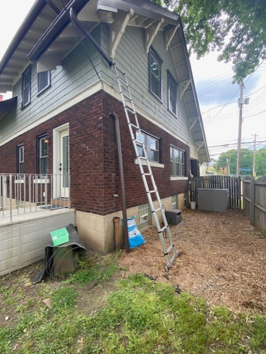Ladder and downspout