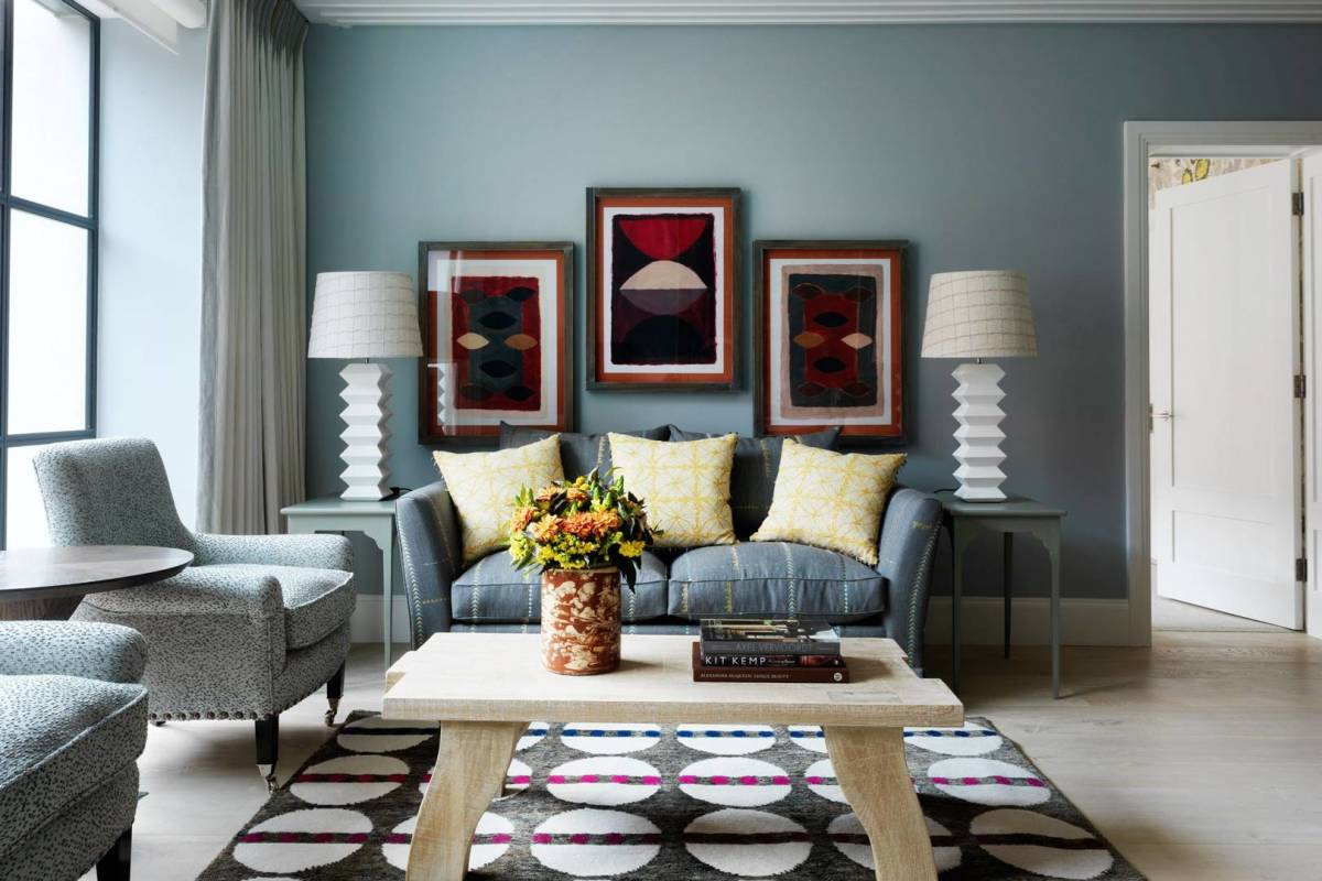 Blue grey paint coupled with neutral tones is a perfect combination.