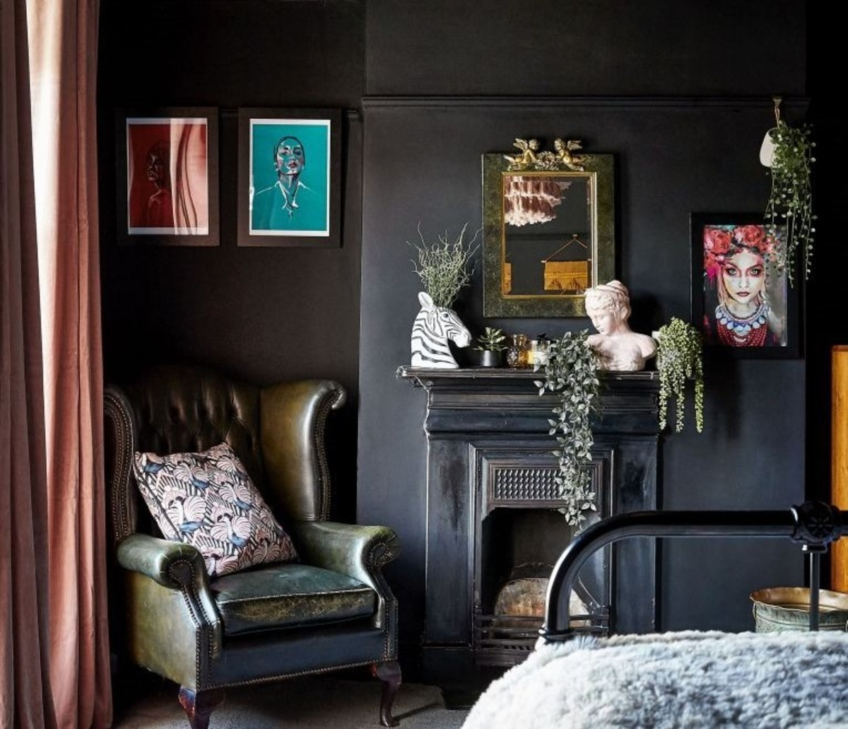 Dark, eclectic spaces are a unique & striking choice.