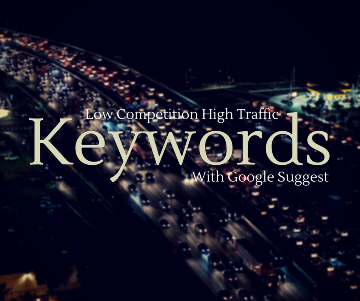 Low competition, high traffic keywords with Google suggest.