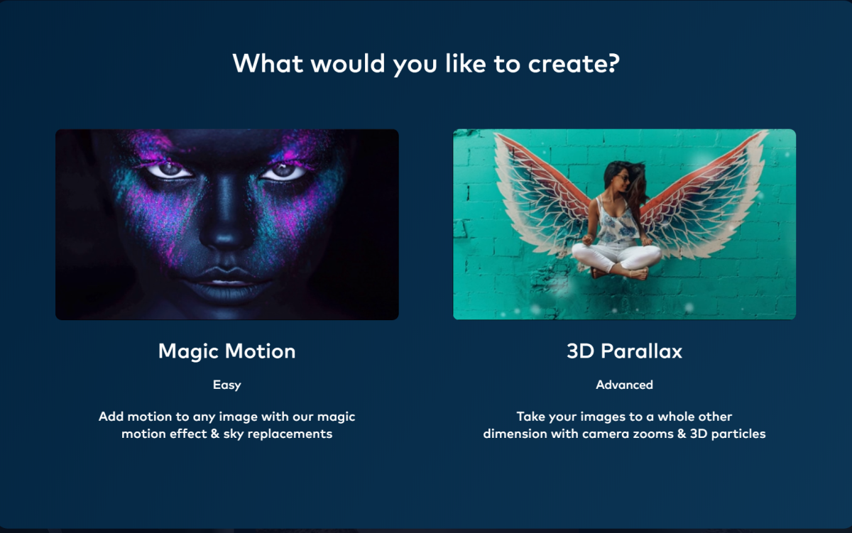 PhotoVibrance offers two options: add motion to photos and add 3D effects