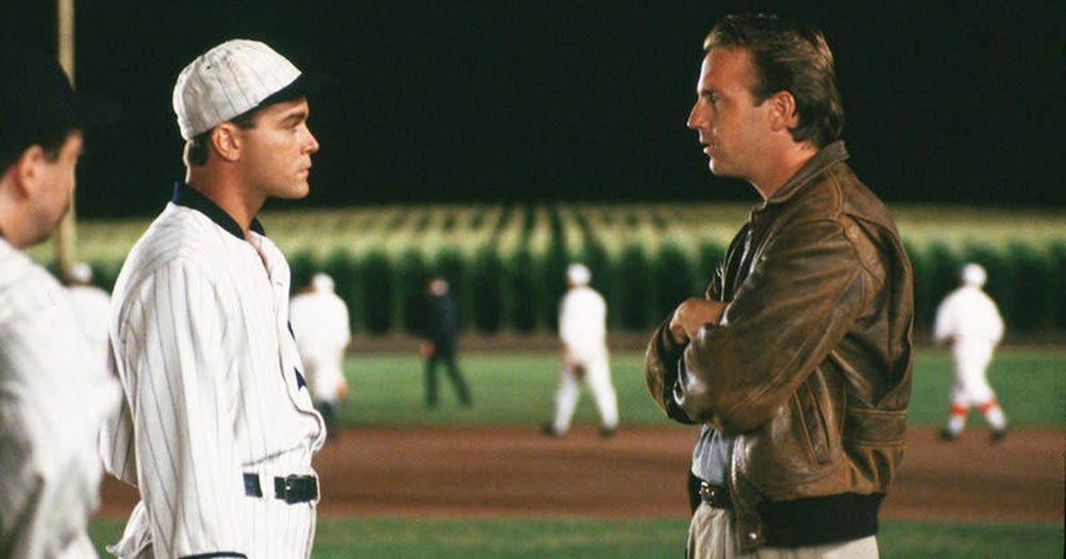 """Ray Liotta (left) portrays """"Shoeless"""" Joe Jackson in the film Field of Dreams"""