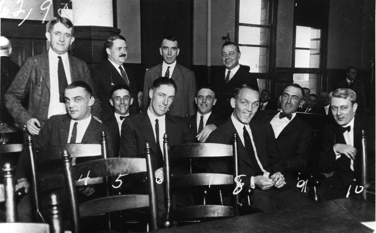 The White Sox standing trial in 1920.