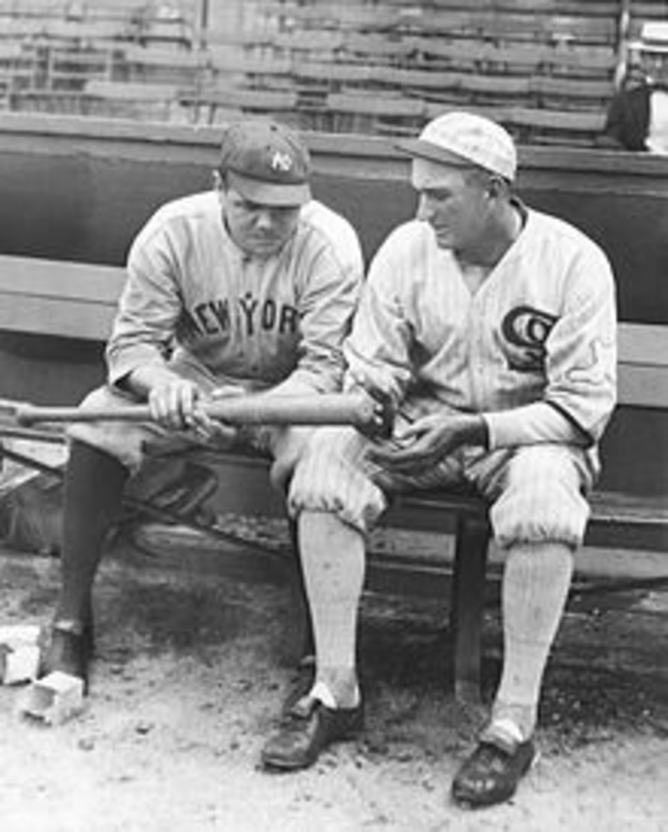 Jackson (Left) talking with Baseball Icon Babe Ruth in his early years with the New York Yankees. Ruth considered Jackson to be his idol.