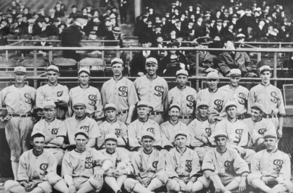 The 1919 Chicago White Sox took this picture after winning the American League Pennant.