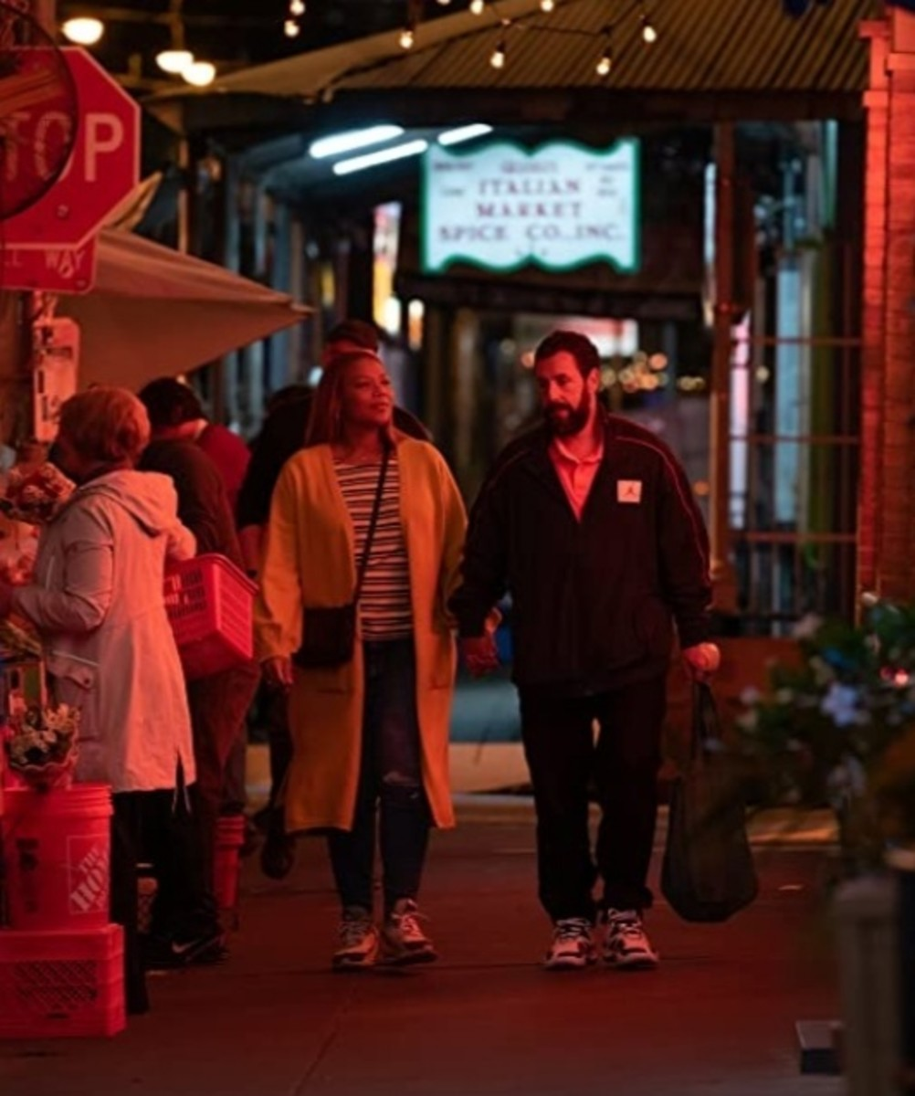 Queen Latifah and Adam Sandler shoot a scene for Hustle