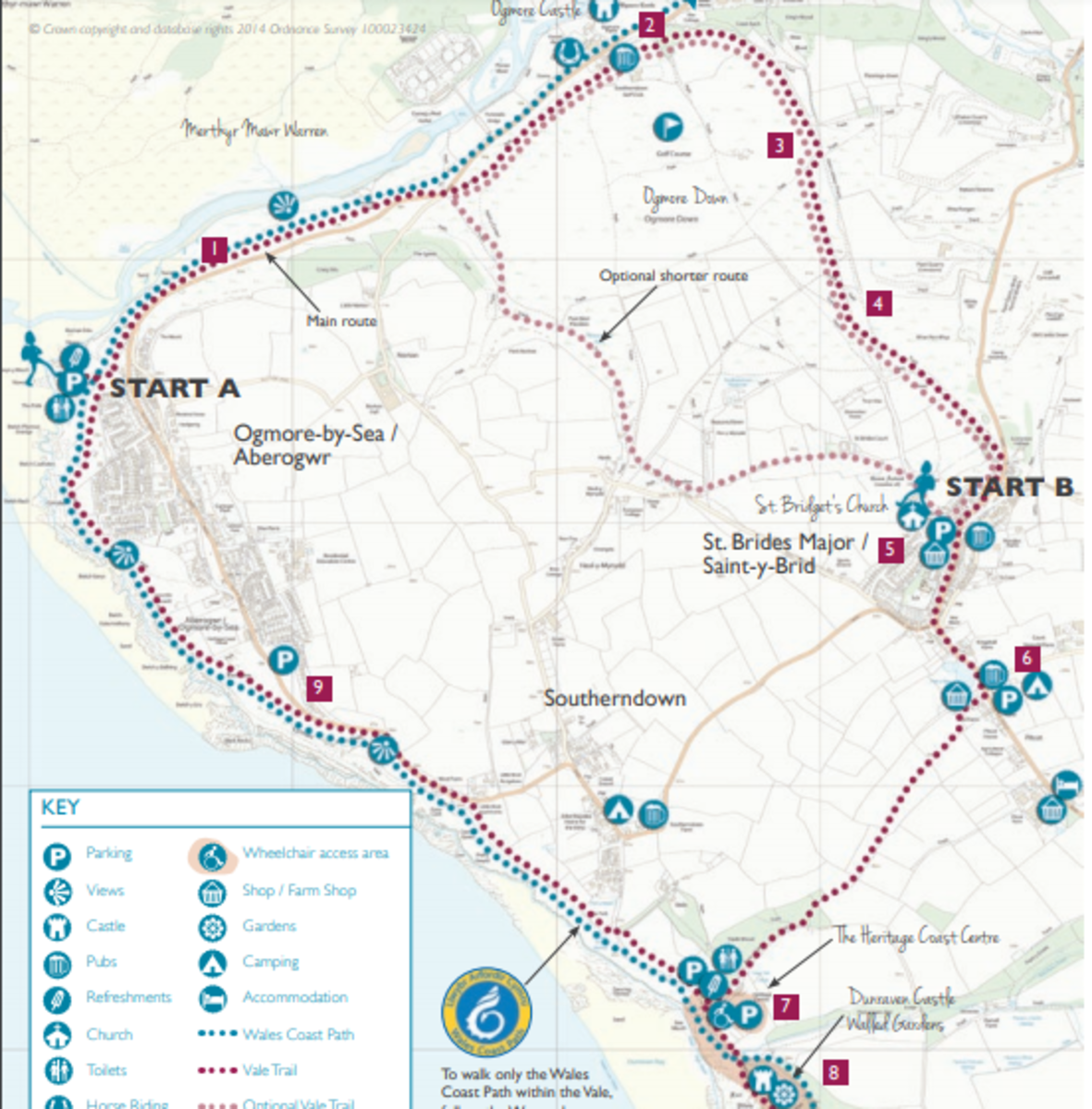 The route of the circular walk in and around Ogmore by Sea.