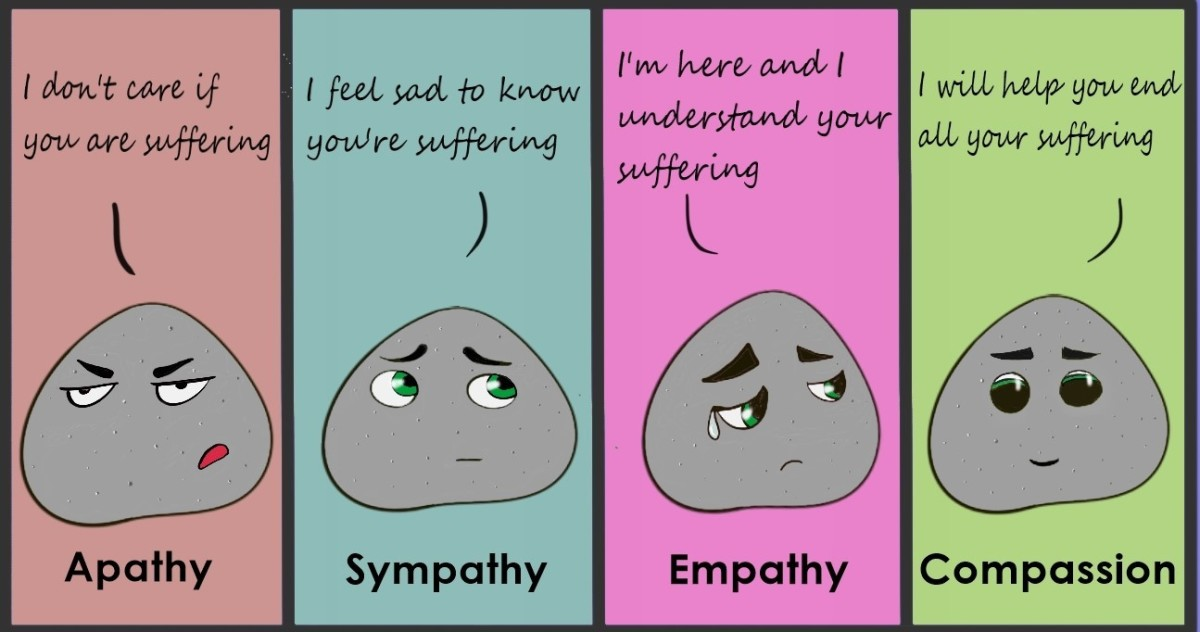 The image depicts the differences between various emotions such as apathy, sympathy, empathy and compassion.