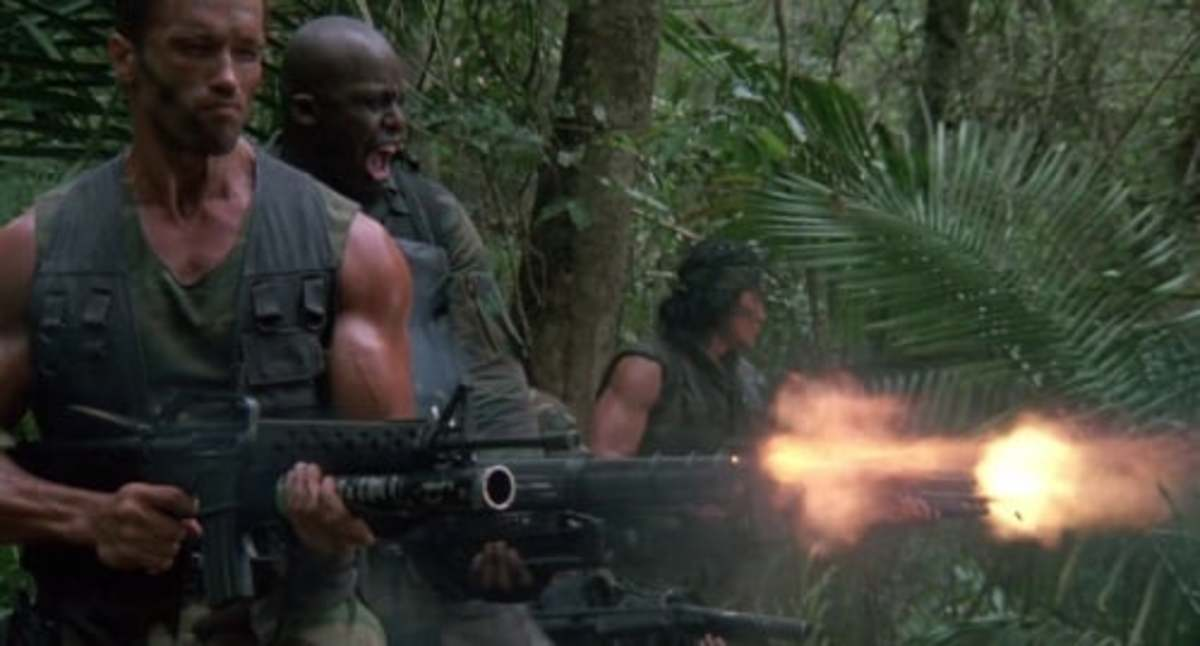 Courtesy of 20th Century Fox.  Among the many masculine images of the eighties, Predator's jungle shooting scene stands as one of the most iconic.