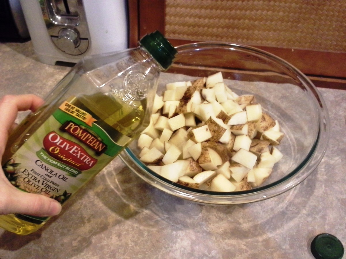 Step Six: Add your olive oil so your seasonings have something to stick to